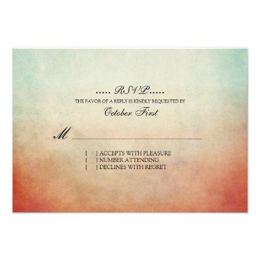 RSVP Wedding boémio vermelho e azul rústico Convites Personalizados