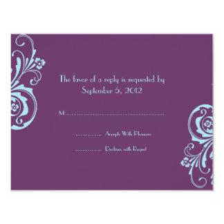 RSVP Wedding chique azul e roxo Convite 10.79 X 13.97cm