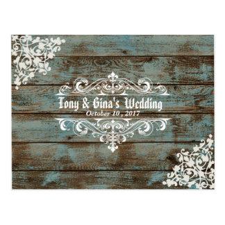 RSVP Wedding de madeira afligido azul Cartão Postal