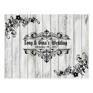 RSVP Wedding de madeira afligido Cartão Postal