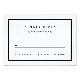 RSVP Wedding minimalista Convite 8.89 X 12.7cm