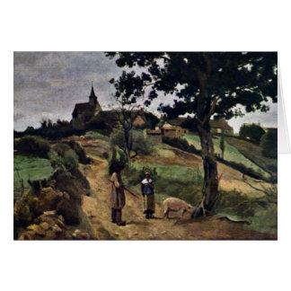 Rua-Andre-En-Morvan por Corot Jean-Baptiste-Camilo Cartão Comemorativo