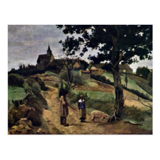 Rua-Andre-En-Morvan por Corot Jean-Baptiste-Camilo Cartão Postal