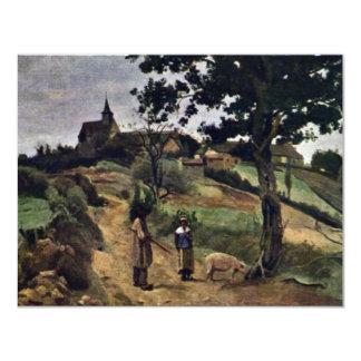 Rua-Andre-En-Morvan por Corot Jean-Baptiste-Camilo Convite 10.79 X 13.97cm