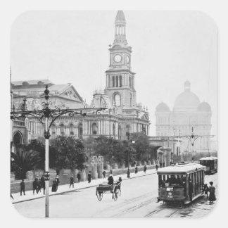 Rua antiga Sydney Austrália c1898 de George do Adesivo Quadrado