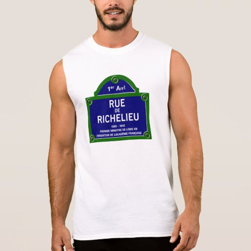 Rua de Richelieu, sinal de rua de Paris Camisa Sem Manga
