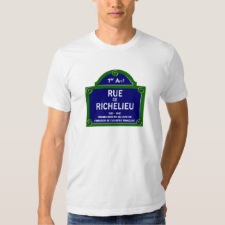 Rua de Richelieu, sinal de rua de Paris T-shirts