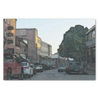 Rua do centro em um lenço de papel da cidade de
