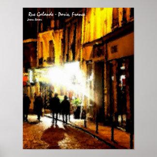 Rua Galande, Paris France Pôster
