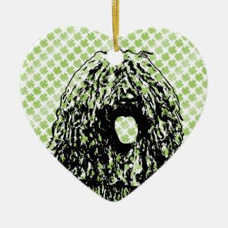 Rua Patricks - silhueta de Puli Ornamento De Cerâmica Coração