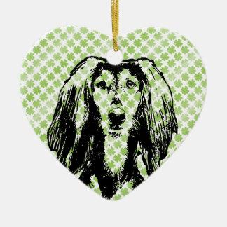Rua Patricks - silhueta de Saluki Ornamento De Cerâmica Coração