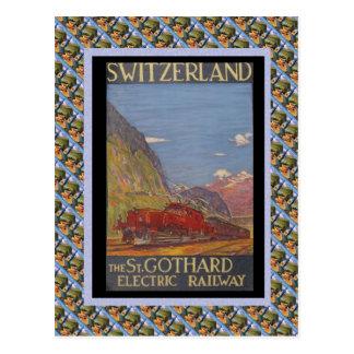 Rua Railway suíça Gotthard do vintage elétrico Cartão Postal