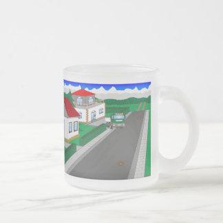 Ruas e construção de casa caneca de café vidro jateado
