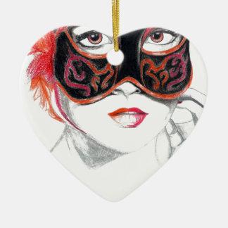 Rubi Venetian da menina da máscara Ornamento De Cerâmica Coração