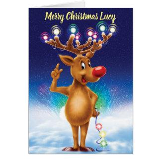 Rudolph com o cartão de Natal feito sob encomenda