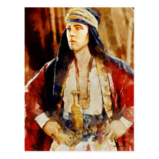 Rudolph Valentino como o Sheikh Arte Cartão