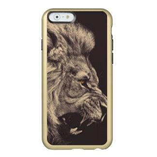 rugido do leão da arte do lápis do leão preto e capa incipio feather® shine para iPhone 6