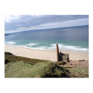 Ruine Cornish da mineração no moinho wheal 02 Cartão Postal