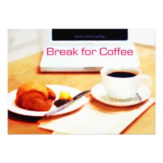 Ruptura do computador do Croissant e de café Convite Personalizados