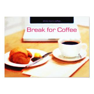 Ruptura do computador, do Croissant e de café Convite 12.7 X 17.78cm