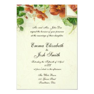 Rústico antigo floral do convite do casamento do