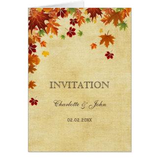 Rústico, folhas da queda, convites do casamento cartoes
