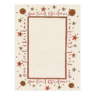 Rústico nosso primeiro cartão de Natal Cartão Postal