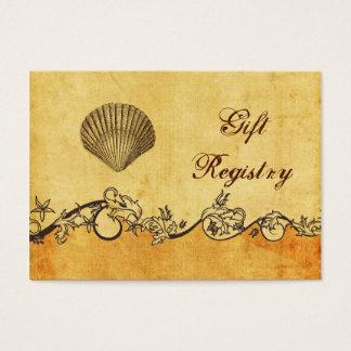 rústico, vintage, lista de presentes da praia do cartão de visitas