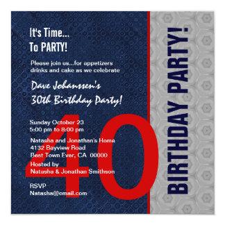 S307 da meia-noite do partido de aniversário de 40 convite quadrado 13.35 x 13.35cm