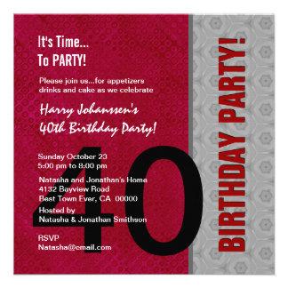 S311 vermelho do partido de aniversário de 40 anos convite