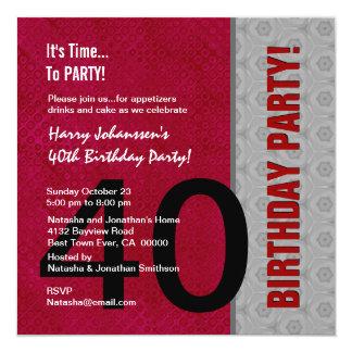 S311 vermelho do partido de aniversário de 40 anos convite quadrado 13.35 x 13.35cm