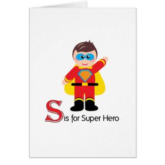 S é para o cartão Loveable das letras do super-her