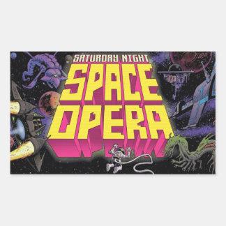 Sábado à noite etiquetas da ópera do espaço! adesivo retangular