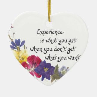 Sabedoria cómico ornamento de cerâmica coração