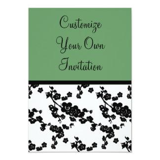 Sábio floral, verde-oliva preto & branco convite 12.7 x 17.78cm