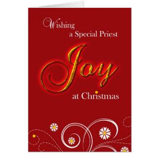 Sacerdote católico, alegria no Natal Cartão Comemorativo