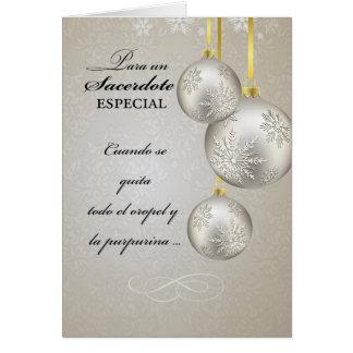 Sacerdote católico, espanhol, Natal, elegante Cartão Comemorativo