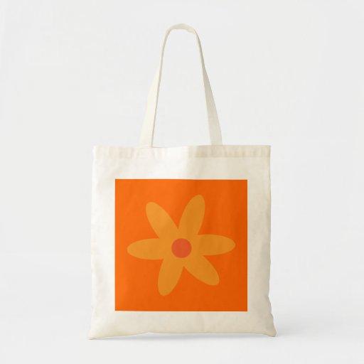 Saco alaranjado bonito da flor dos desenhos animad bolsas de lona