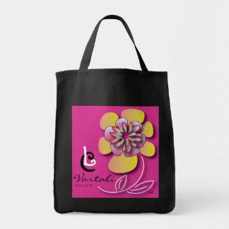 Saco amarelo cor-de-rosa da flor do LC Vartali Sacola Tote De Mercado