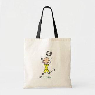 Saco amarelo do futebol dos meninos bolsa de lona