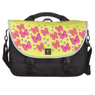 Saco amarelo do laptop do fundo das borboletas cor bolsas para notebook