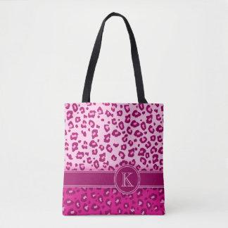 Saco animal do impressão do monograma do rosa bolsa tote
