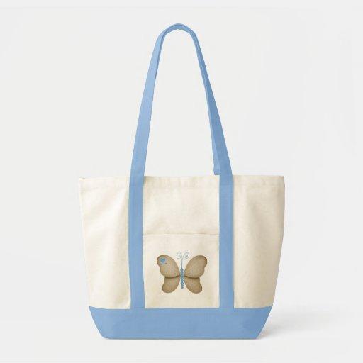 Saco azul bonito da borboleta bolsa para compras