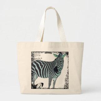 Saco azul da arte da zebra da cintilação do vintag sacola tote jumbo