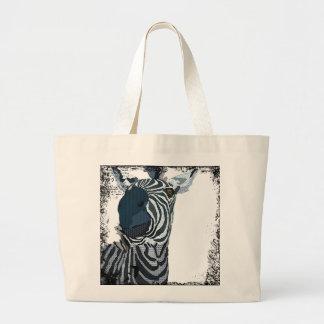 Saco azul da arte da zebra do vintage sacola tote jumbo