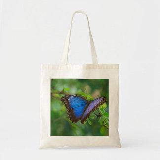 Saco azul da borboleta sacola tote budget