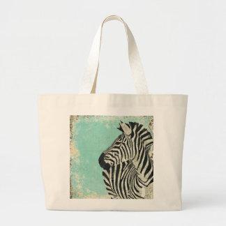 Saco azul da zebra do vintage sacola tote jumbo