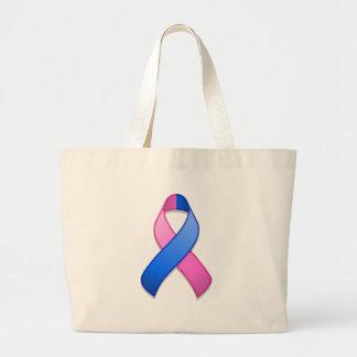 Saco azul e cor-de-rosa da fita da consciência sacola tote jumbo