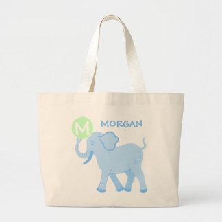 Saco bonito da fralda do elefante do bebé azul do bolsa tote grande