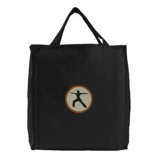 Saco bordado pose do guerreiro da ioga bolsa de lona